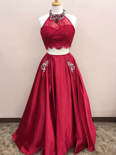 Two Piece Prom Dresses A-line High Neck Floor Length Long Burgundy Lace Prom Dress JKL713