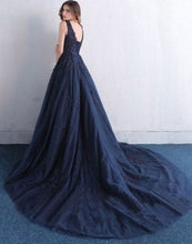 Ball Gown Prom Dresses Straps Sweep Train Dark Navy Appliques Tulle Long Prom Dress JKL715