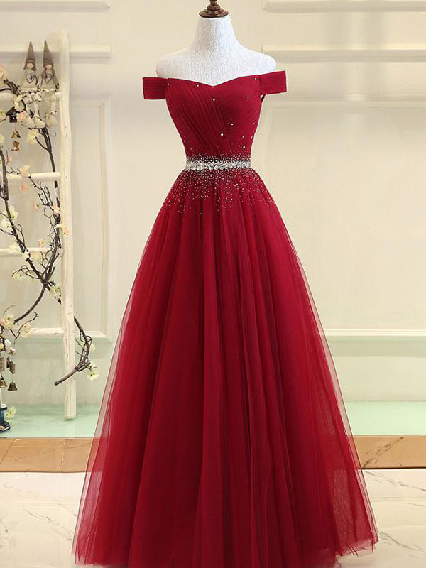 Cheap Prom Dresses Off-the-shoulder Aline Floor-length Long Prom Dress Burgundy Evening Dress JKL716