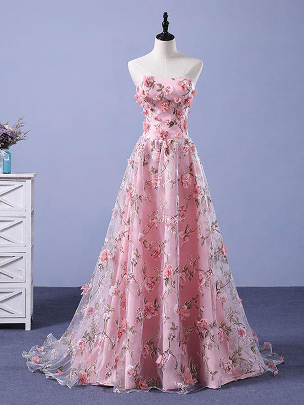 Pink Prom Dresses A Line Sweetheart Sweep Train Floral Print Long