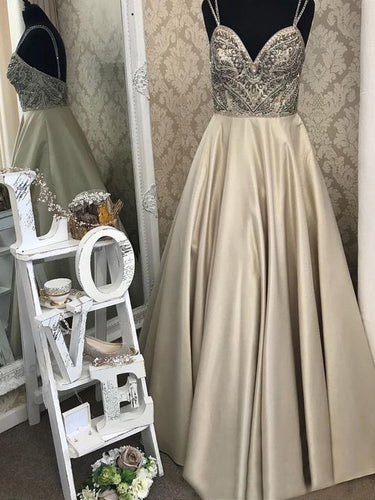 Long Prom Dresses A Line Spaghetti Straps Rhinestone Sexy Long Prom Dress JKL719