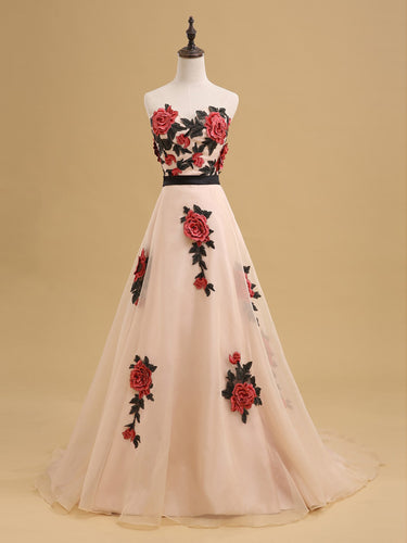 Beautiful Prom Dresses Sweetheart A-line Sweep Train Embroidery Organza Long Prom Dress JKL721