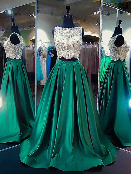 Two Piece Prom Dresses Bateau A-line Sweep Train Beading Hunter Green Long Prom Dress JKL725