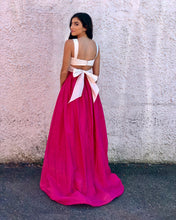 Chic Prom Dresses A-line Straps Floor-length Sexy Prom Dress Fuchsia Evening Dress JKL726
