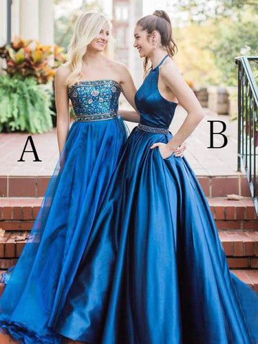 Sexy Prom Dresses Halter Aline Sweep Train Rhinestone Beautiful Prom Dress JKL731