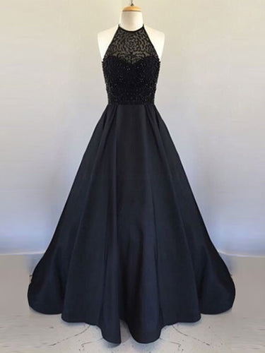 Black Prom Dresses Halter A Line Beading Satin Sexy Long Prom Dress JKL732
