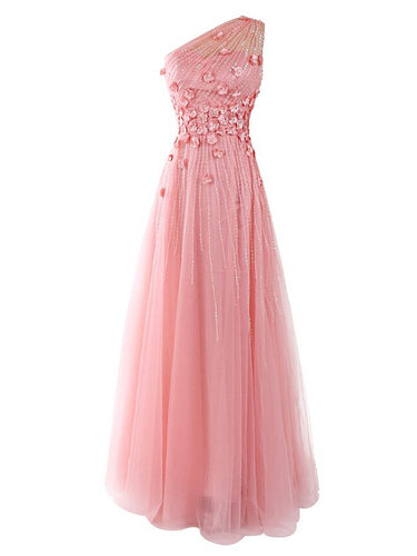 Long Prom Dresses One Shoulder A-line Floor-length Long Pink Prom Dress JKL733