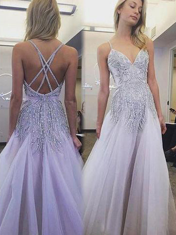 Sexy Prom Dresses Spaghetti Straps A Line Floor-length Lavender Long Prom Dress JKL734