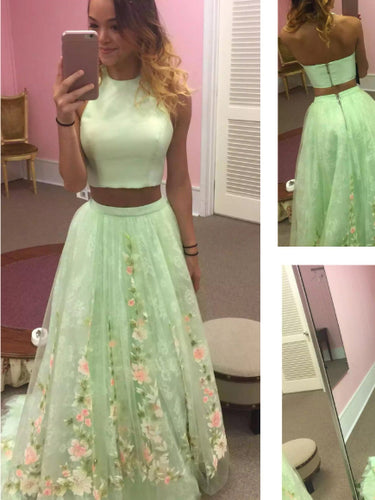 Two Piece Prom Dresses Scoop Aline Short Train Lace Tulle Sage Prom Dress JKL735