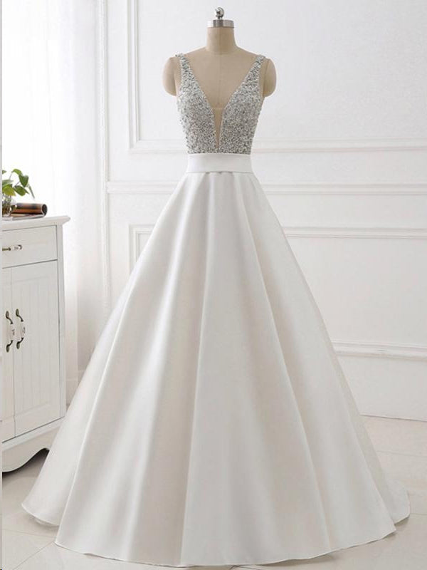 37d0c18fc70 Ball Gown Prom Dresses Straps Sequins Ivory Satin Chic Sparkly Long Prom  Dress JKL736