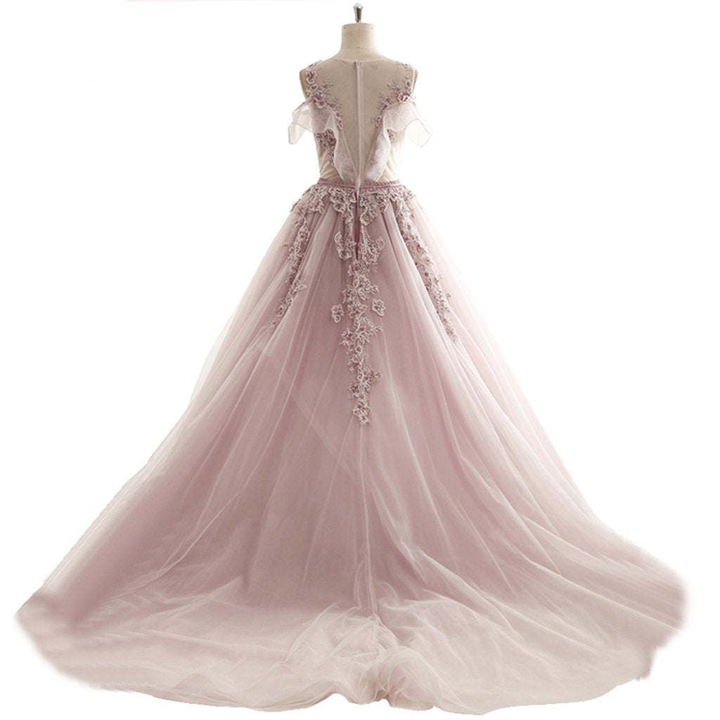 Ball Gown Prom Dresses Scoop Brush Train Appliques Fairy Dress Tulle ...