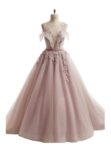 Ball Gown Prom Dresses Scoop Brush Train Appliques Fairy Dress Tulle Prom Dress JKL738