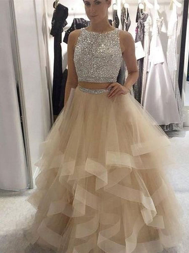 Two Piece Prom Dresses Bateau Ball Gown Floor-length Long Sexy Prom Dress JKL740
