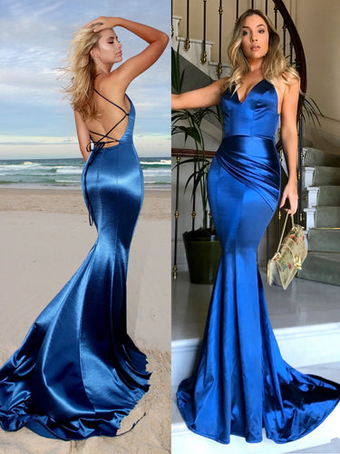Mermaid Prom Dresses Spaghetti Straps Brush Train Long Royal Blue Sexy Prom Dress JKL742