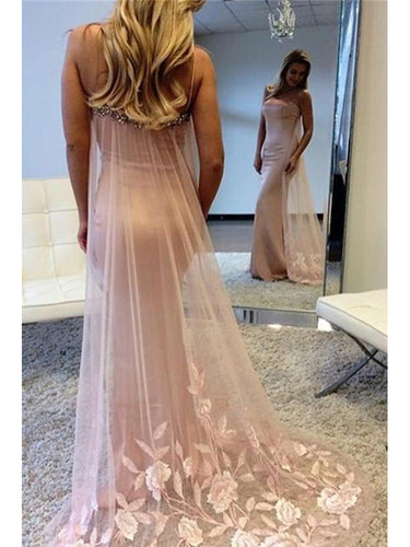 Sexy Prom Dresses Spaghetti Straps Embroidery Mermaid Short Train Long Prom Dress JKL743