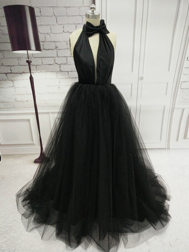 Black Prom Dresses Halter Backless Bowknot Tulle Sexy Prom Dress JKL747