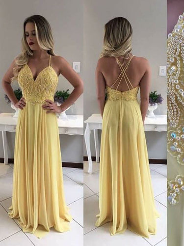Chic Prom Dresses A-line Spaghetti Straps Long Prom Dress Sexy Evening Dress JKL748