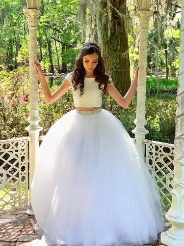 Two Piece Prom Dresses Off-the-shoulder A-line Floor-length Long White Prom Dress JKL751
