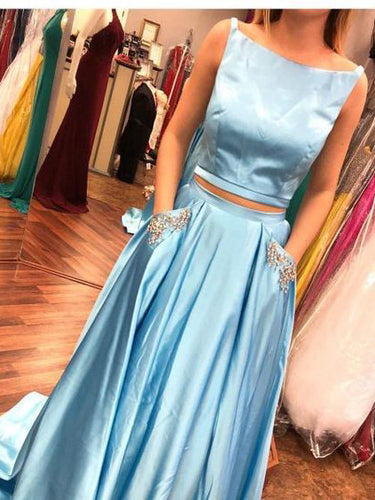 Two Piece Prom Dresses Bateau Rhinestone Satin A-line Long Prom Dress JKL753