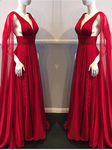 Red Prom Dresses A-line Sweep/Brush Train V-neck Beautiful Prom Dress Long Evening Dress JKL754