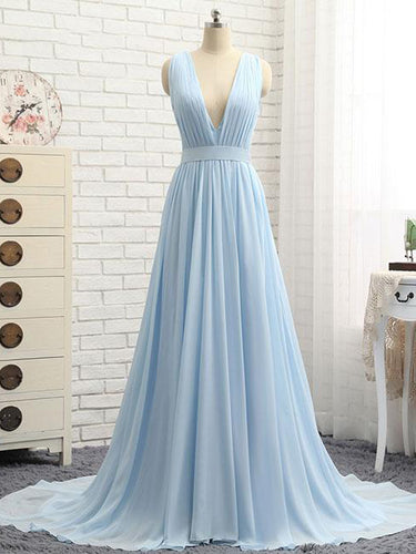 Sexy Prom Dresses V-neck A Line Sweep/Brush Train Chiffon Sexy Long Prom Dress JKL756