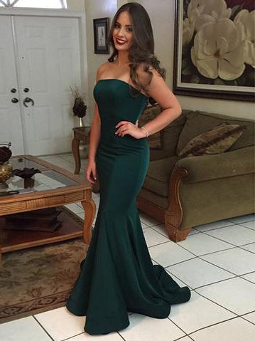 Sexy Prom Dresses Strapless Trumpet Mermaid Short Train Jersey Long Prom Dress JKL762