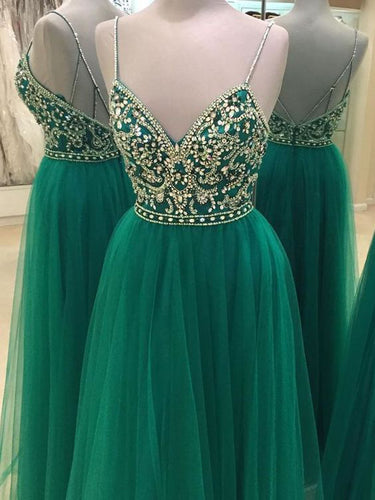 Chic Prom Dresses Spaghetti Straps A-line Rhinestone Long Tulle Prom Dress JKL763
