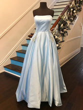 Long Prom Dresses Strapless A-line Rhinestone Long Satin Simple Prom Dress JKL764|Annapromdress