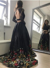 Two Piece Prom Dresses Lace Floral Print Black Prom Dress Sexy Evening Dress JKL765|Annapromdress
