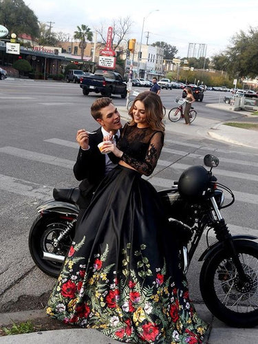 Two Piece Prom Dresses Lace Floral Print Black Prom Dress Sexy Evening Dress JKL765