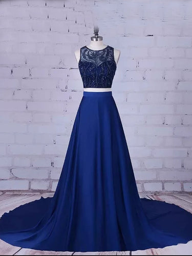 Two Piece Prom Dresses Scoop Beading A-line Sweep Train Long Prom Dress JKL766