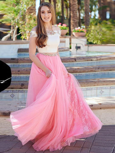 Two Piece Prom Dresses Off-the-shoulder A-line Rhinestone Slit Lace Prom Dress JKL772