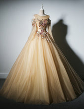 Ball Gown Prom Dresses Scoop Sexy Embroidery Long Tulle Prom Dress JKL775