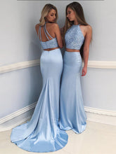 Two Piece Prom Dresses Halter Rhinestone Sexy Sweep Train Long Prom Dress JKL777