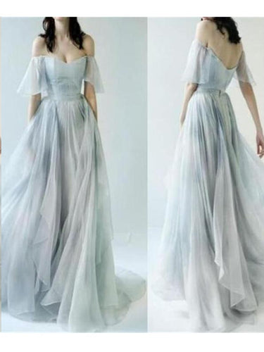 Beautiful Prom Dresses Off-the-shoulder A-line Print Flowy Chiffon Long Prom Dress JKL779|Annapromdress