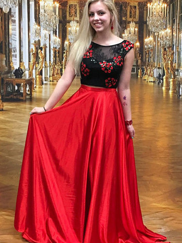 Two Piece Prom Dresses A-line Red and Black Lace Prom Dress Long Evening Dress JKL780|Annapromdress