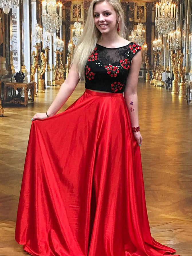 Two Piece Prom Dresses A Line Red And Black Lace Prom Dress Long