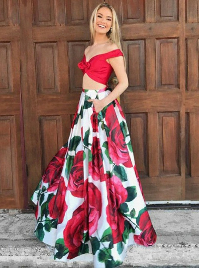 Two Piece Prom Dresses Floral Print Long Red Prom Dress