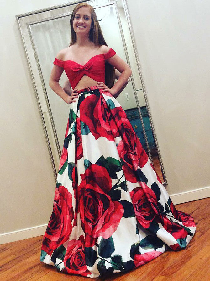 6642a7783fd Two Piece Prom Dresses Floral Print Long Red Prom Dress Sexy Evening Dress  JKL781
