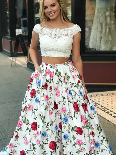 Two Piece Prom Dresses Bateau A-line Floral Print Chic Long Prom Dress JKL784|Annapromdress
