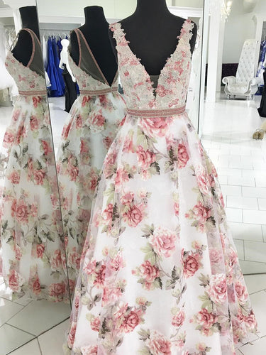 Floral Print Prom Dresses V-neck A Line Floor-length Organza Long Prom Dress JKL785|Annapromdress