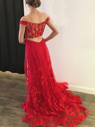 Red Prom Dresses Off-the-shoulder Sheath Lace Long Slit Prom Dress JKL786|Annapromdress
