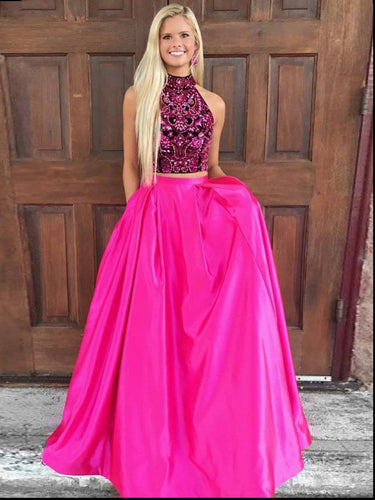 Two Piece Prom Dresses High Neck A-line Rhinestone Long Fuchsia Sexy Prom Dress JKL787|Annapromdress
