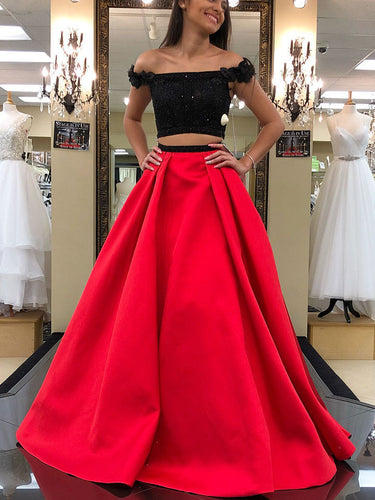 Two Piece Prom Dresses Off-the-shoulder A line Sexy Long Black Prom Dress JKL789|Annapromdress