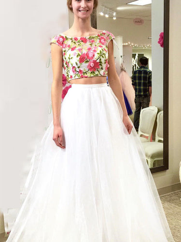Two Piece Prom Dresses Bateau A-line Sexy Embroidery Long Prom Dress JKL790|Annapromdress