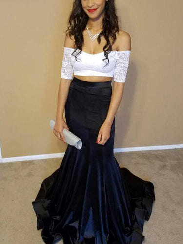 Two Piece Prom Dresses Off-the-shoulder White and Black Prom Dress Long Evening Dress JKL794|Annapromdress