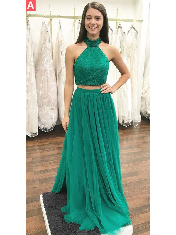 Two Piece Prom Dresses High Neck A-line Floor-length Beautiful Prom ...