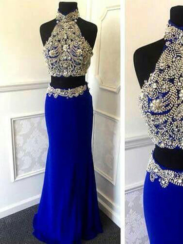 Two Piece Prom Dresses High Neck Floor-length Sexy Prom Dress Long Evening Dress JKL796|Annapromdress