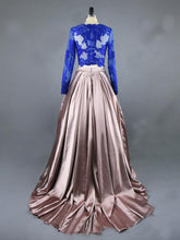 Two Piece Prom Dresses Scoop Sweep Train Ball Gown Satin Long Prom Dress JKL798|Annapromdress