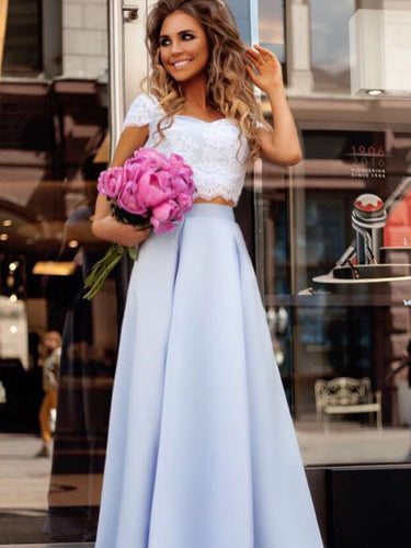 Two Piece Prom Dresses Sweetheart Lace Long Beautiful Prom Dress JKL799|Annapromdress